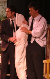 "Hal (Ryan Gregg) and Dennis (David Neilsen) with ""Mrs McLeavy"""